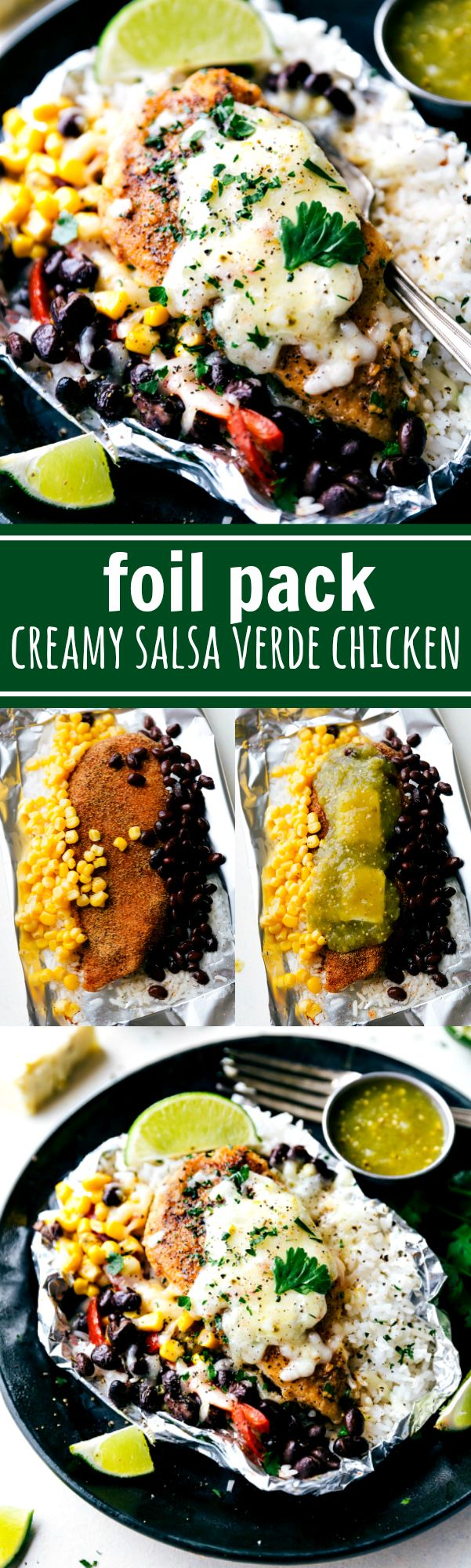 Creamy salsa verde chicken with rice and veggies all cooked at once in a foil packet! No need to pre-cook the rice or chicken. This dish takes no more than 10 minutes to assemble and is bursting with