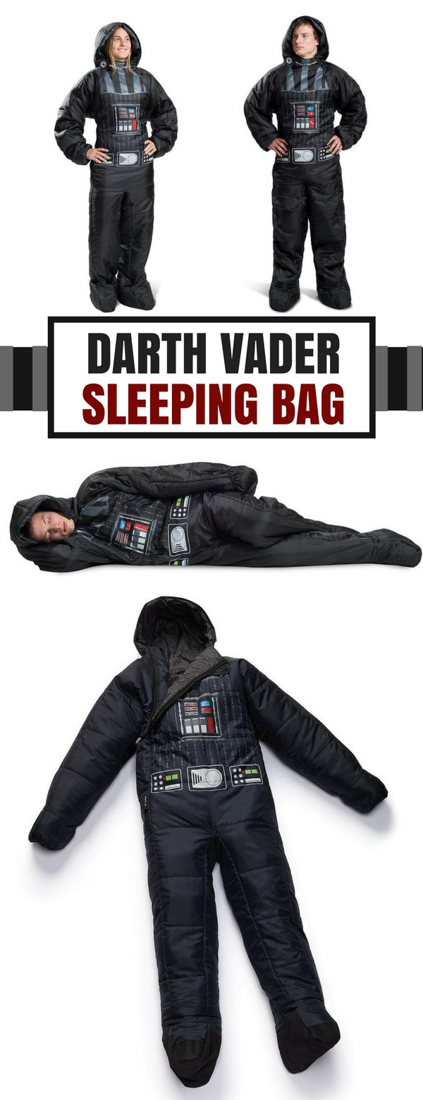 Cool Darth Vader wearable sleeping bag for adult. Perfect gift idea for Star Wars fans. #ad #starwars #darthvader #sleepingbag #adult #giftidea #geek #disney
