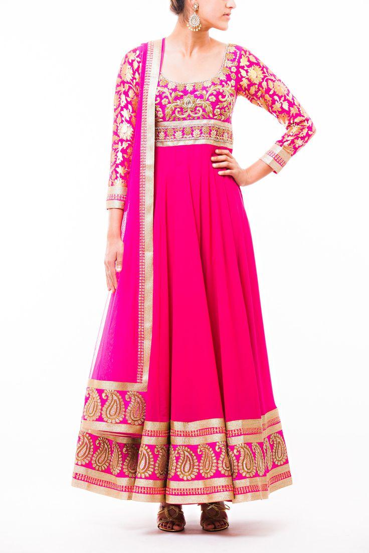 Wellgroomed Designs- Hot Pink Georgette Anarkali