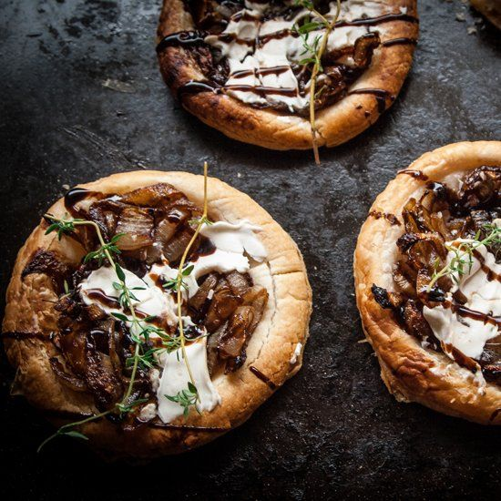 ... onion tarts with sweet balsamic glaze, cream cheese and fresh thyme