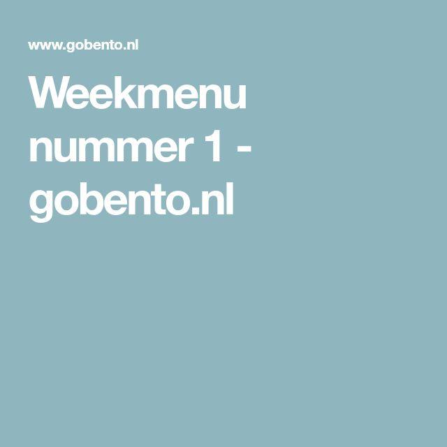 Weekmenu nummer 1 - gobento.nl