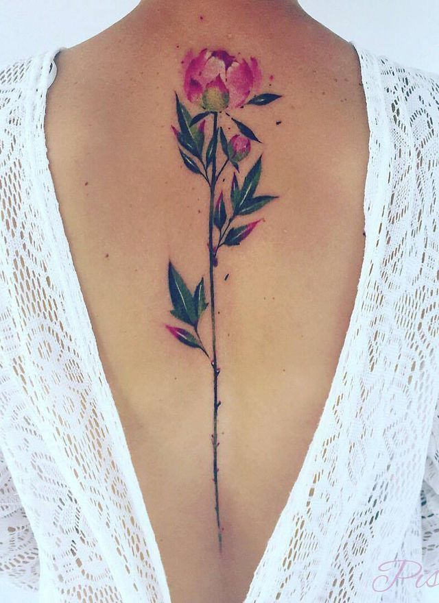 Watercolor rose tattoo on spine. Exactly what I want!