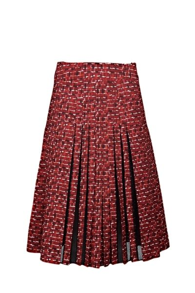 Bottega Veneta cotton pleated skirt with mesh details, geometric pattern and concealed zip closure on the side   The model is 1,75m tall and is wearing size 38