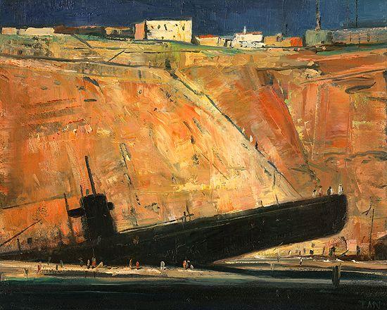 Shaun Tan - The unremembered past (dream of a black submarine) oil, 25 x 20cm