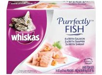 Whiskas Purrfectly Chicken Variety Pack (4-Chicken, 3-Chicken & Beef, 3-Chicken & Duck) Food for Cats, 10-Count Packages (Pack of 4)