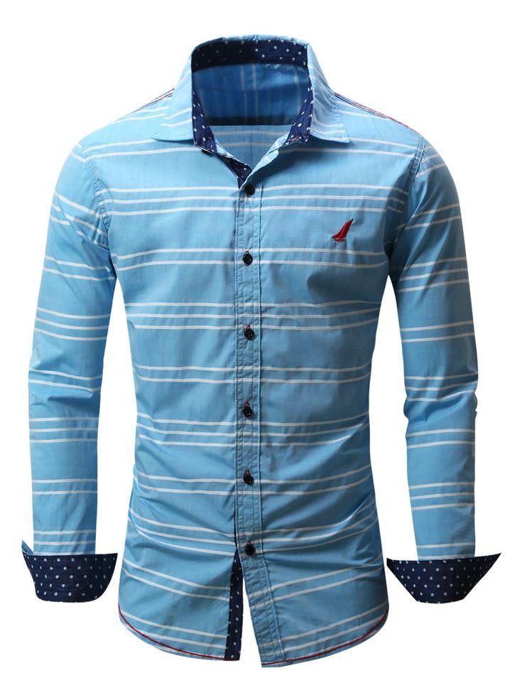 $15.01 Camisa listrada com botões e bordado