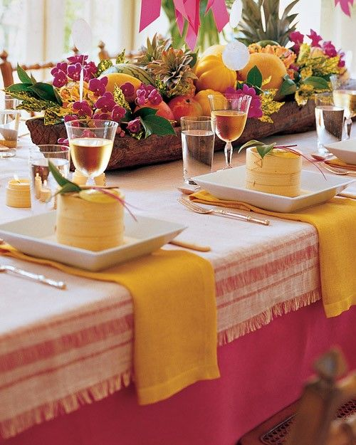 Turn your back yard into an island paradise with our ideas for tropical decor, tiki cocktails, and Hawaii-inspired party foods.Set in a carved-out log, this edible centerpiece features an arrangement of melons, pineapples, and other tropical fruits. Orchids fitted into floral vials and citrus leaves are then tucked into the crevices.