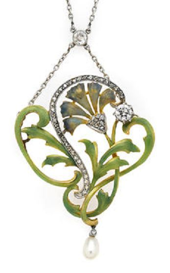 An Art Nouveau enamel, diamond and freshwater pearl pendant-brooch necklace, circa 1905. #ArtNouveau #pendant #brooch