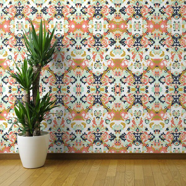 Fosston Abstract And Mustard Removable Peel And Stick Wallpaper Roll Peel And Stick Wallpaper Wallpaper Panels Wallpaper Roll