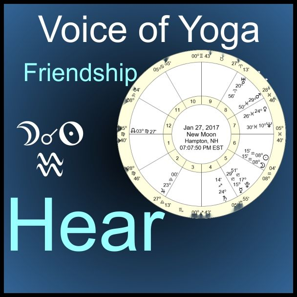 New Moon 1/27/17 New Moon 1/27/17 in Aquarius brings friendship is a radio talk show. The show focuses on the astrological chart of the New Moon and gives insights on the transits.