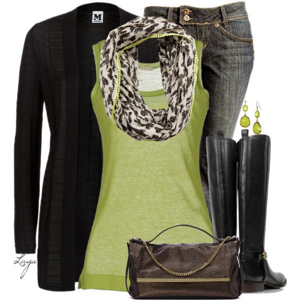 Minus that bag, and the boots...like the heels on mine much better. (Animal & Boots by lagu, via Polyvore)