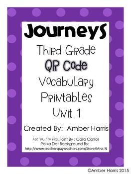 This 34 page product was made to supplement Houghton Mifflin Harcourt's third grade Georgia Journeys 2014 edition reading series.  Included are 3 printable QR code vocabulary activities to support the vocabulary in each lesson of Unit 1 for a total of 18 activities.