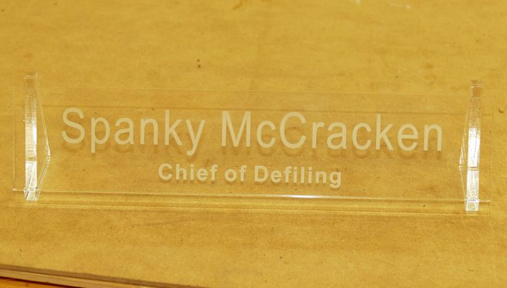 Desk sign engraved in acrylic, optional colour logo added if required