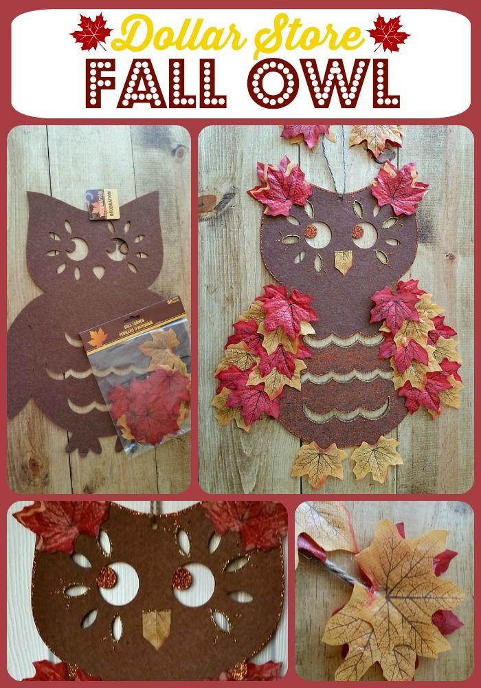 Dollar Store Fall Owl - Turn a plain dollar store felt owl into a fun & festive fall owl for under $5. #dollarstore #owl #fall