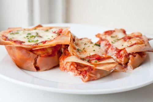 Petit Lasagna made with wonton wrapper