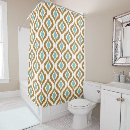 Brown Teal Turquoise Retro Chic Ikat Drops Pattern Shower Curtain - pattern sample design template diy cyo customize