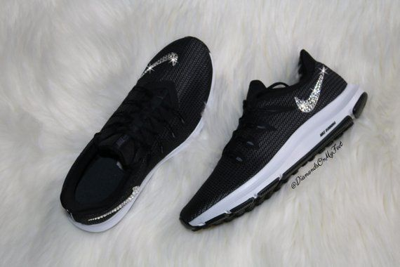 Swarovski Women S Nike Quest Free Run Black White Sneakers Blinged Out With Authentic Clear Swarovski Crystals Custom Bling Nike Shoes Bling Nike Shoes Nike Women Nike