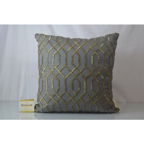 This #Grey Abstract cut dana work cushion cover, features back zip; comes with poly filler