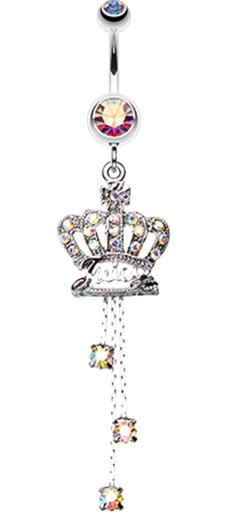 Royal Crown Sparkle Belly Button Ring