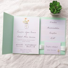 inexpensive green pocket sunflowers rustic mason jars wedding invitations EWPI126 as low as $1.69