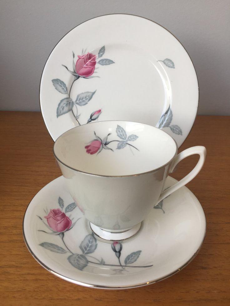 Royal Albert Grey Teacup Trio, Pink Rose Vintage Tea Cup, Saucer and Side Plate, Bone China, 1950s by CupandOwl on Etsy