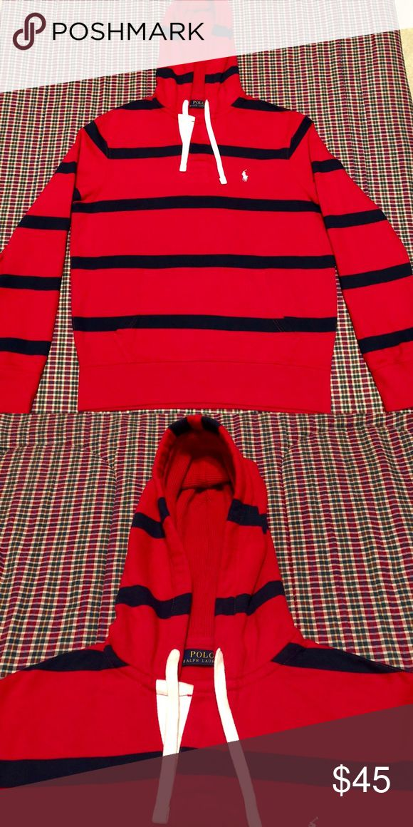 Polo Ralph Lauren hoodie Polo Ralph Lauren hoodie red/ navy blue stripes with white horse size medium. (Price is firm) Polo by Ralph Lauren Shirts Sweatshirts & Hoodies