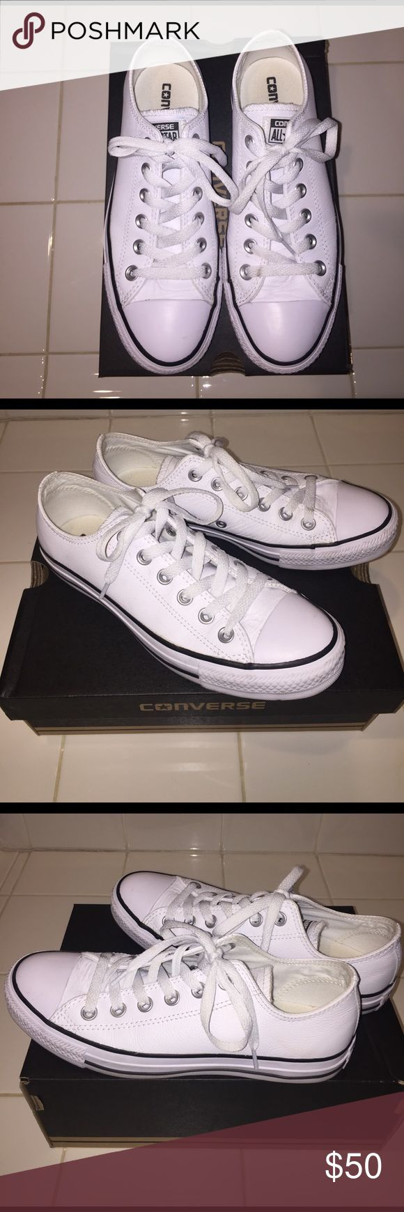 CONVERSE CHUCK TAYLOR DAINTY OX- WHITE LEATHER All white leather converse shoes. Thought these would fit but are a size too big. Size 7 in women; 5 in men. Was too late to return. Literally worn 2-3 times ever! Shoes are in like new condition; signs of wear (typical creasing where toes bend) but no signs of damage. Converse Shoes Sneakers