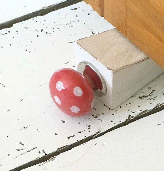 Wooden Door Stop with Orange Door Knob, Rustic Doorstop, Wood Door Stopper, Oak Door Wedge, Country Decor, Reclaimed Wood Door Stop,