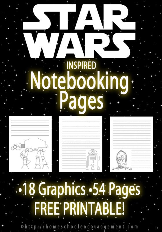 Free Printable Star Wars Notebooking Pages set from Homeschool Encouragement. Star Wars Writing Paper for your letters, assignments, notebooking and more. Star Wars Party supplies.