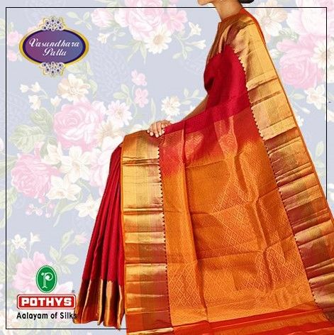 Kancheepuram silk that reflecting glory of tradition defined in this deep pink@ https://www.pothys.com/pure-silk-sarees/kancheepuram-traditional-with-blouse.html/ #KancheepuramSilk #Pothys #PureSilk