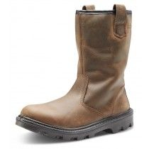 Click Steel Toe Cap Sherpa Leather Rigger Boots Tan