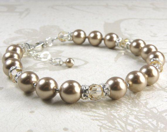Champagne pulsera de la perla joyería de dama clásica