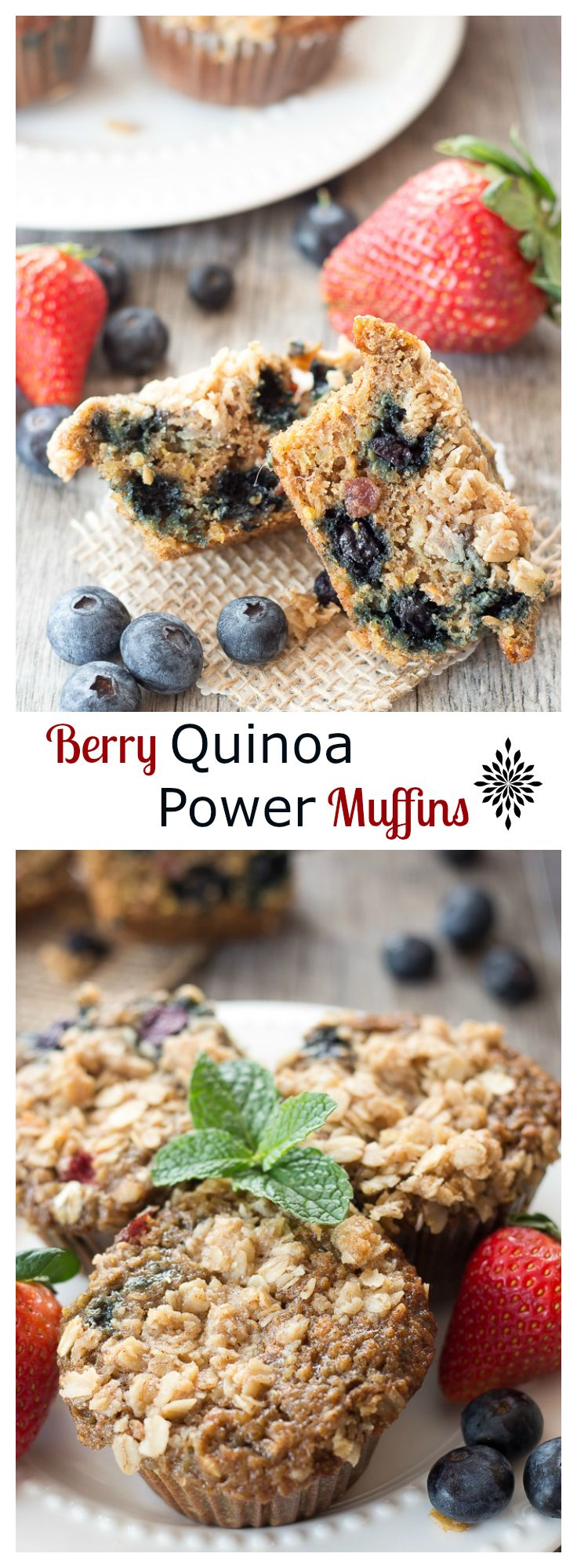 A healthy breakfast power muffin filled with juicy berries, quinoa, and oatmeal. Everything you need to start your day and to leave you feeling satisfied till lunch time. Protein packed!