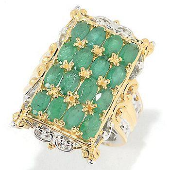 Gems en Vogue 3.68ctw Zambian Emerald 16-Stone Rectangle Ring