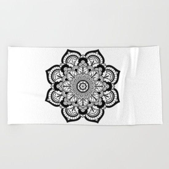 Meditation Black and White Flower #sacred #geometry  #beachtowel #mandala #meditation #reiki #yoga #yogalovers #boho https://society6.com/product/black-and-white-flower-hv4_beach-towel?curator=azima