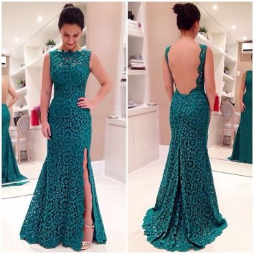 Cheap Sexy O Neck Tank Sleeveless Backless Side Split Green Polyester Ankle Length Dress #PinoftheDay @iamalovelywoman