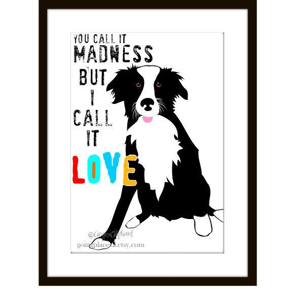 Border Collie Art Print Wall Decor by GoingPlaces2 on Etsy