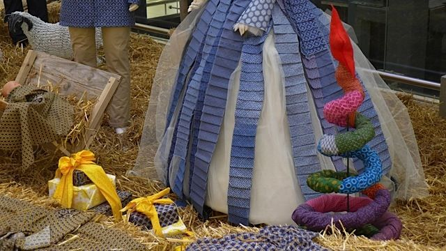Details on Mary's dress in the Shweshwe Nativity Scene, as well as cute spiral Christmas tree. All at Tyger Valley Centre in Cape Town.