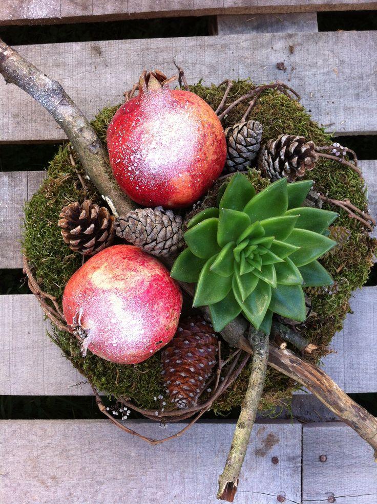 Succulent Moss Pomegranates Cones
