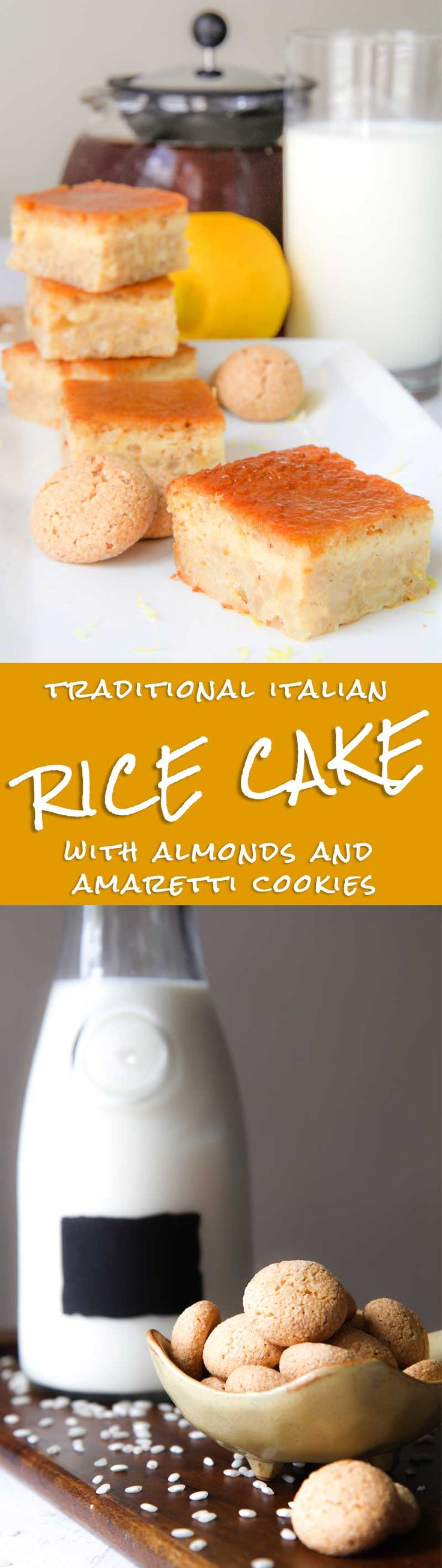 """ITALIAN RICE CAKE with almonds and Amaretti cookies - The Italian rice cake, called also """"Torta degli Addobbi"""" is a simple and tasty dessert of the Emilian tradition. Originally, this cake had been prepared for the """"Festa degli Addobbi"""", a medieval festivity where colored drapes were showed out from the windows. But, currently is common serve rice cake all year long. Arborio rice is slowly cooked into the milk and spices, then the mixture is baked into the oven! - desserts recipe idea"""