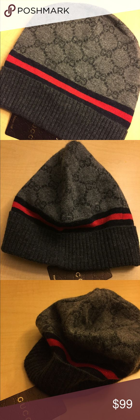 Authentic Gucci Wool Beanie Authentic Gucci Beanie Hat For those who love wearing the latest fashion trends;you can count on Italy's most prestigious designer GUCCI .  When cold weather is in the forecast, take cover in this Unisex GUCCI Beanie Hat,  complete with a warm protective Hat that feature a durable stretch fit and the active style you want. . Made in Italy, Brand New with all Tags  Material: 70% Wool - 30% Cashmere Gucci Accessories Hats