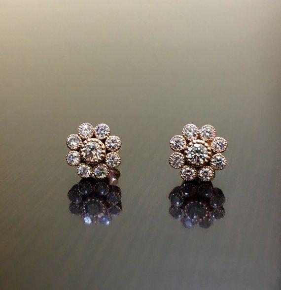 Vintage Inspired Handmade 14K Rose Gold Bezel Set Diamond Earrings – Antique Style Art Deco Round Diamond Rose Gold Stud Earrings