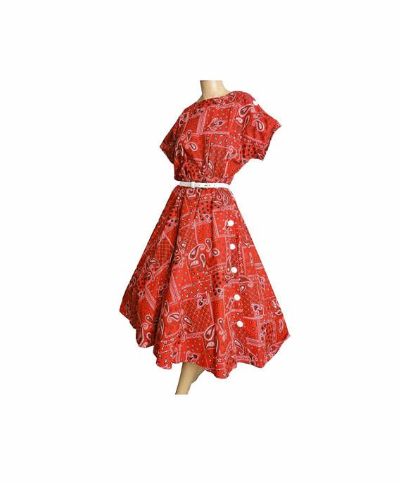 Fit and Flare 80s does 50s Vintage 1980s Dress Red Bandana