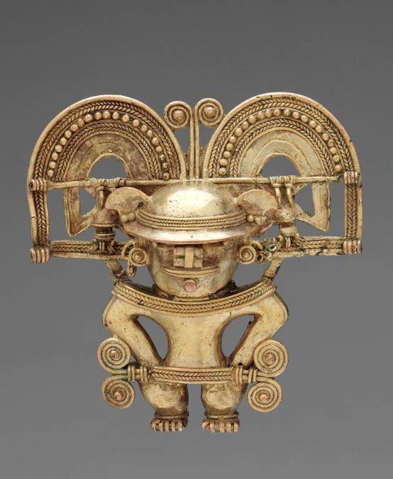 Colombia. Figura colgante, estilo Tairona. Oro fundido siglo 10 al 16.