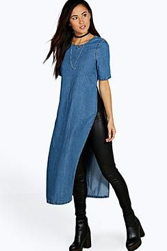 ¡Cómpralo ya!. Helena Side Split Denim Tunic Dress. Pared back day dresses are the perfect base for layering up this seasonNo off-duty wardrobe is complete without a casual day dress. Basic bodycon dresses are always a winner and casual cami dresses a key piece for pairing with a polo neck, giving you that effortless everyday edge. Tone down the twinkle for day by teaming a sequin slip dress with a jersey tee ? genius! So, if you ever get caught out for cocktails, this day-to- night look…