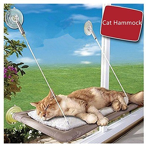 RunHigh Cat Window Mount Pet Suuny Rest Safety Hammock Weighted Up to 30lb 44lb ** Click image to review more details.