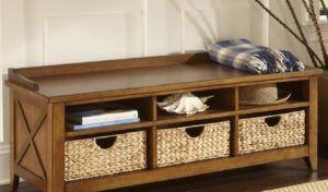 Guernsey White Leather Storage Ottoman Bench