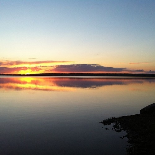 tamarackaspenbirch: Last-night's sunset. #nofilter #christopherlake #campkinasao #sunset #saskatchewan #explorecanada (at Christopher Lake)
