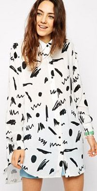 Oversized Shirt With Squiggle Print