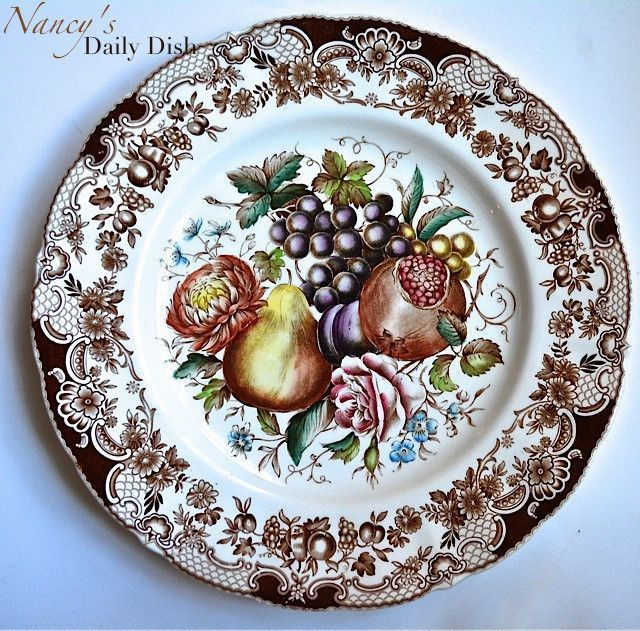 Johnson Brothers Brown Transferware Plate Harvest Fruit Windsor Ware